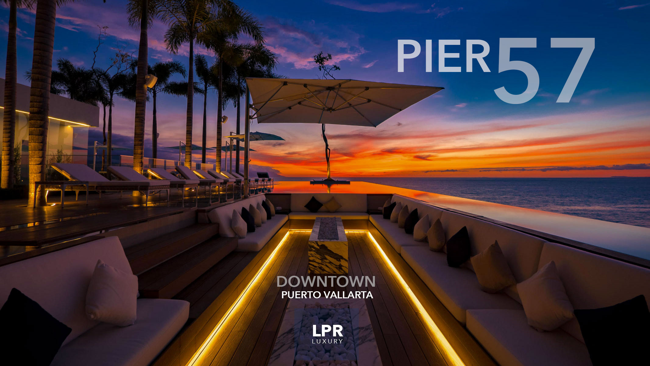 PIER 57 - Downtown Puerto Vallarta luxury condos - Rooftop pool and sunset lounge - LPR Luxury Puerto Vallarta real estate and vacation rentals.